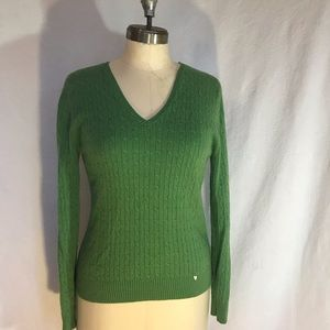 Tweeds 2 ply pure cashmere vneck sweater. Lg